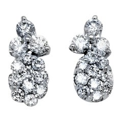 2.16 Ct 14 Karat Cluster Oval Earrings