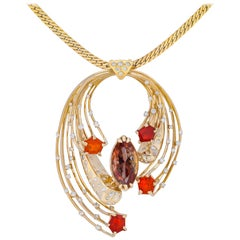14 Karat Comet Pendant with Oregon Sunstone, Fire Opals and Diamonds
