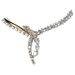 14 Karat Custom Made Pear Shape and Round Diamonds Necklace