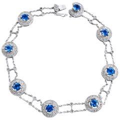 14 Karat Diamond and Blue Topaz Ladies Bracelet