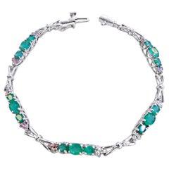 14 Karat Diamond and Emerald Ladies Bracelet