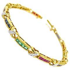 14 Karat Diamond , Ruby, Sapphire,Emerald Ladies Bracelet