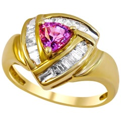 14 Karat Diamond and Pink Mystic Topaz Ladies Ring