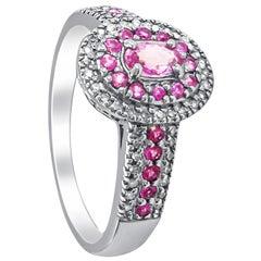 14 Karat Diamond and Rose Stone Cluster Ring