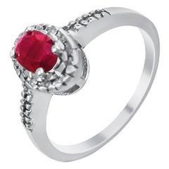 14 Karat Diamond and Ruby Cluster Ring