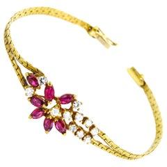 14 Karat Diamond and Ruby Ladies Bracelet