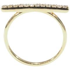 14 Karat Diamond Bar Ring Yellow Gold 0.20 Carat