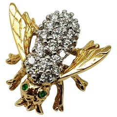 "14 Karat Diamond ""Bee"" Brooch"