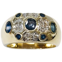 14 Karat Diamond Blue Sapphire Pinky Ring