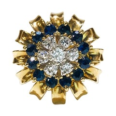 14 Karat Diamond Blue Sapphire Ring