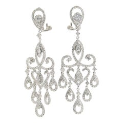 14 Karat Diamond Chandelier Earrings Drop Dangle White Gold 1.90 Carat
