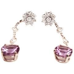 14 Karat Diamond Cluster Studs Detachable Diamond Amethyst Drop
