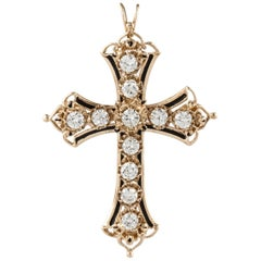 14 Karat Diamond Cross Pin Pendant