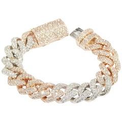 14 Karat Diamond Curb Link Bracelet White Rose Gold 12 Carat