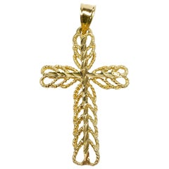 14 Karat Diamond Cut Cross Pendant