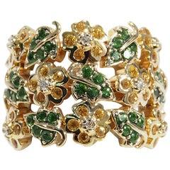 14 Karat Diamond Emerald Ring Motif Flexible Yellow Gold