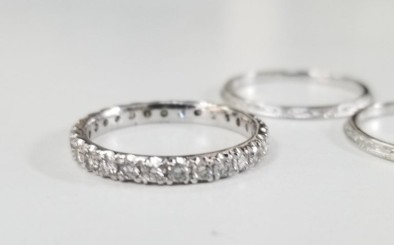 Art Deco 14 Karat Diamond Eternity Ring with Hand Engraved Rings For Sale