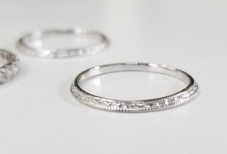 Round Cut 14 Karat Diamond Eternity Ring with Hand Engraved Rings For Sale