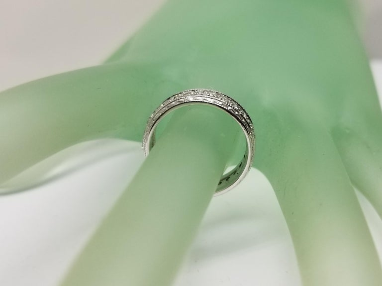 Women's 14 Karat Diamond Eternity Ring with Hand Engraved Rings For Sale