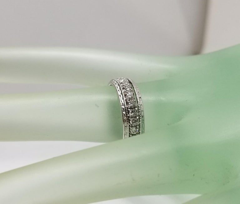 14 Karat Diamond Eternity Ring with Hand Engraved Rings For Sale 1