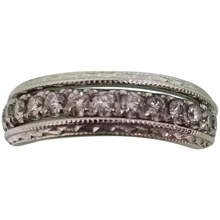 14 Karat Diamond Eternity Ring with Hand Engraved Rings For Sale