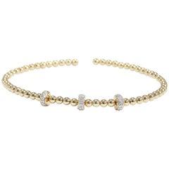 14 Karat Diamond Flexible Bracelet Yellow Gold Cluster 0.12 Carat
