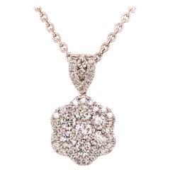 14 Karat Diamond Flower Cluster Pendant White Gold
