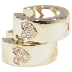 14 Karat Diamond Heart Hoop Earrings Yellow Gold 0.12 Carat