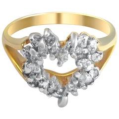 14 Karat Diamond Heart Ring Vintage