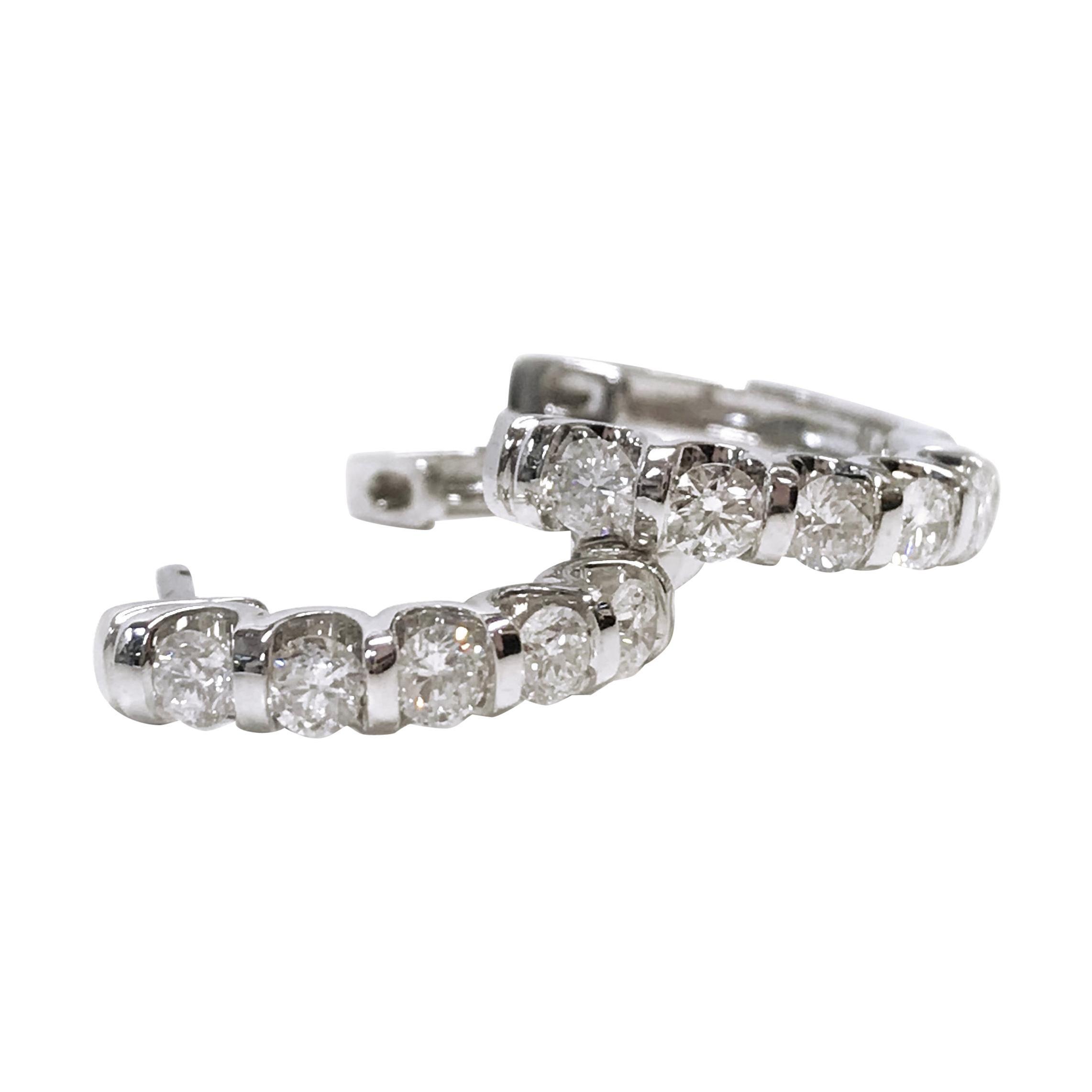 14 Karat Diamond Hoop Earrings