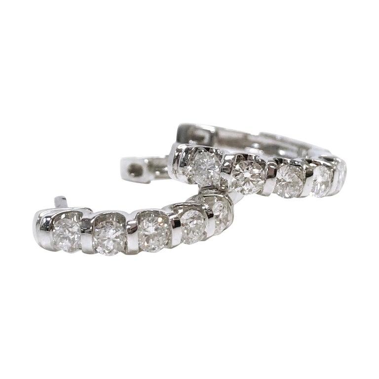 14 Karat Diamond Hoop Earrings For Sale