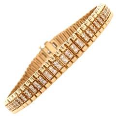 14 Karat Diamond Line Bracelet Yellow Gold