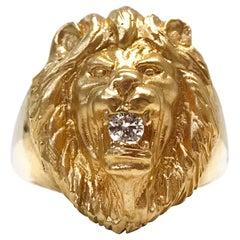 14 Karat Diamond Lion Ring