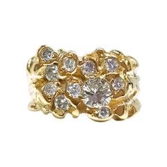 14 Karat Diamond Nugget Ring