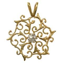 14 Karat Diamond Ornate Star Pendant
