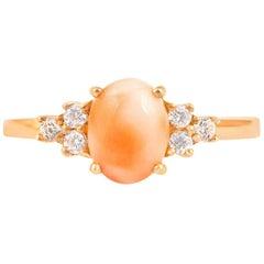 14 Karat Diamond Pink Coral Ring
