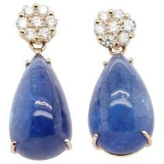14 Karat Diamond Tanzanite Earrings Yellow Gold Dangle