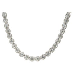 14 Karat Diamond Tennis Necklace White Gold 7.09 Carat