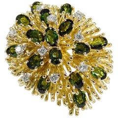 14 Karat Diamond Tourmaline Cocktail Ring Yellow Gold
