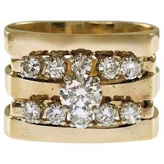 14 Karat Diamond Triple-Band Ring