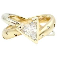 14 Karat Diamond X Ring with .50 Carat Trillion Center
