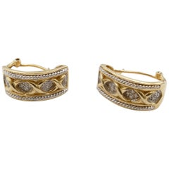 14 Karat Diamond Yellow and White Gold Modern Earrings