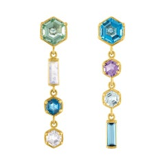 14 Karat Drop Assymetrical Earrings with Multi Colored Hexagons