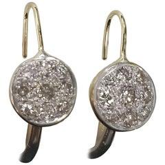 14 Karat Drop Diamond Cluster Earrings