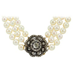 14 Karat Edwardian Diamond Pearl Necklace Yellow Gold 1.02 Carat