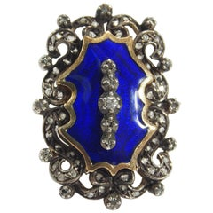 14 Karat Edwardian Diamond Ring Large Blue Enamel Silver 0.25 Carat