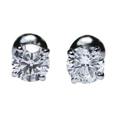 14 Karat EGL Certified Diamond stud earrings 1.15 Carat
