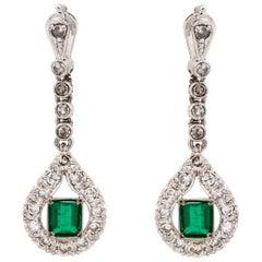 14 Karat Emerald Diamond Dangling Earrings