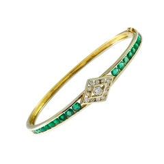 14 Karat Emerald Diamond Gold Bracelet