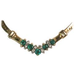 14 Karat Emerald Diamond Necklace